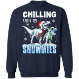 Chilling with my Snowmies T-rex Dinosaurs Ugly Christmas Sweater sweatshirt