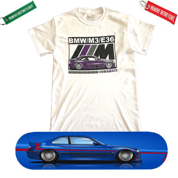 BMW E36 M3 Skateboard Deck and Premium T-shirt Bundle ++