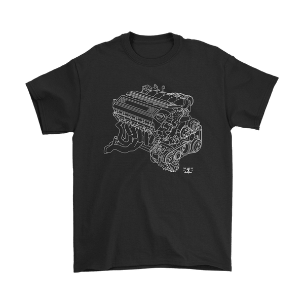 BMW E36 M3 S50 Engine Blueprint Illustration T-shirt