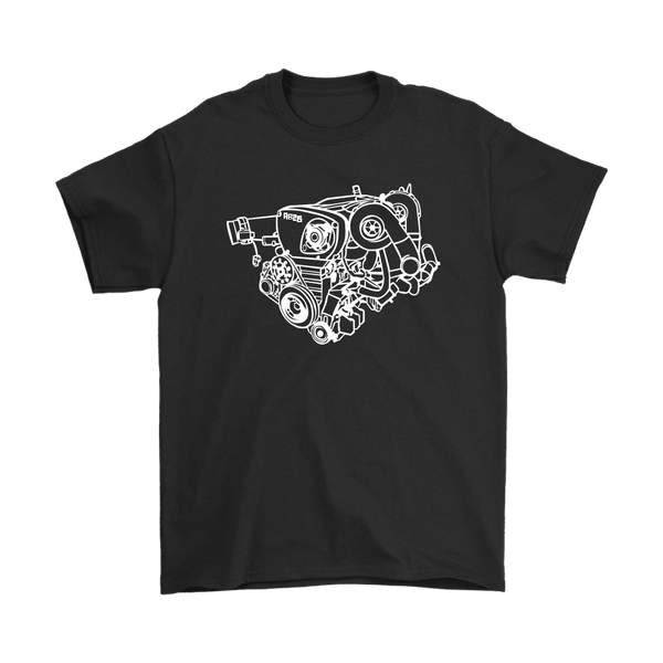 Nissan Skyline GTR RB26DETT engine blueprint illustration t-shirt mens and womens