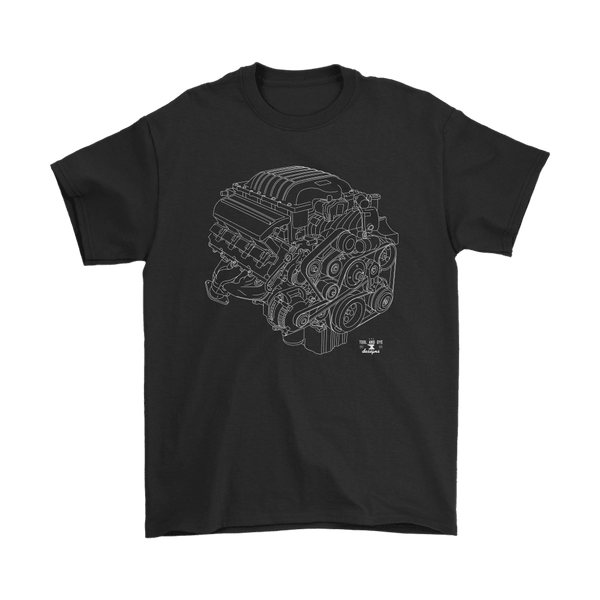 Dodge HEMI 6.2L Hellcat Engine Blueprint Illustration T-shirt
