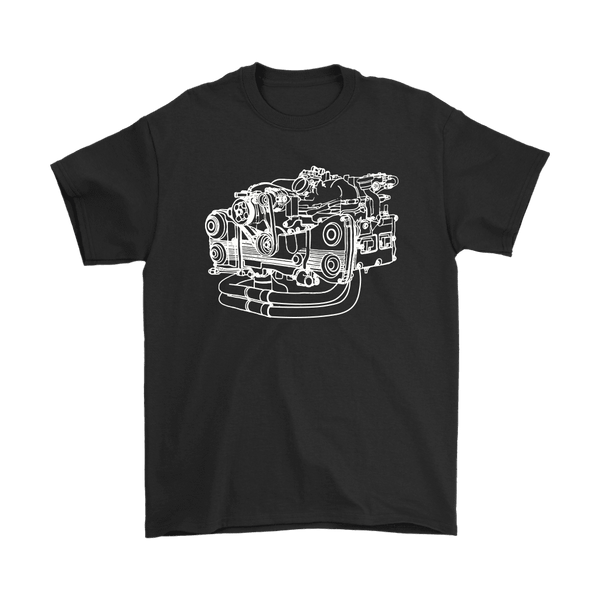 Subaru EJ Engine Blueprint Illustration T-shirt