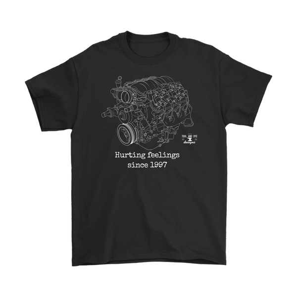 LS Engine Hurting Feelings Since 1997 V8 GM Engine Blueprint t-shirt ver. 2