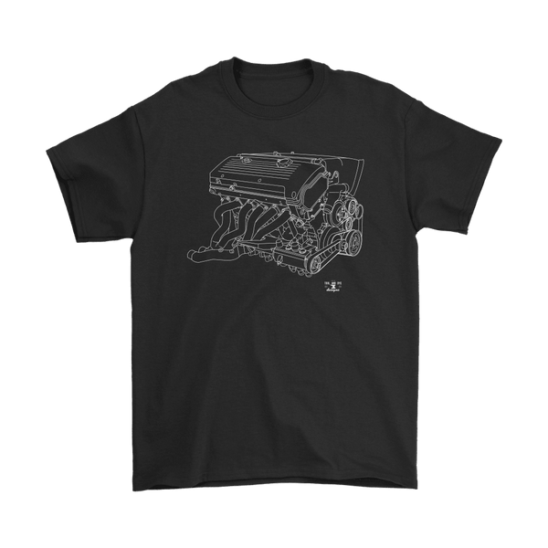 BMW E46 M3 S54 Engine Blueprint Illustration shirt