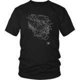 Ford 302 Boss V8 Engine Blueprint Illustration Series T-shirt