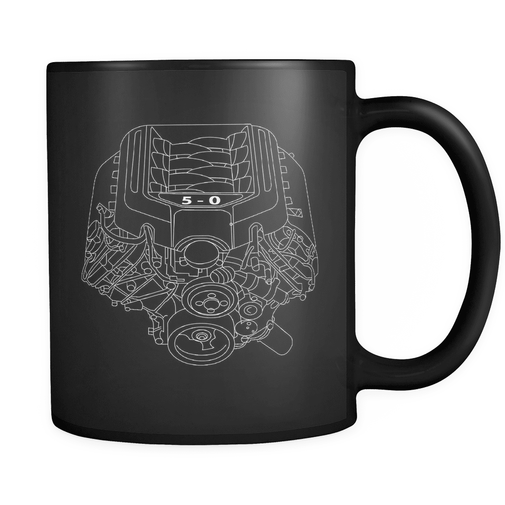Ford mustang coyote 50 engine blueprint illustration coffee mug malvernweather Image collections