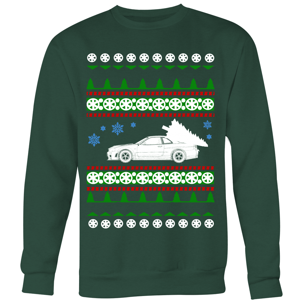 nissan r34 gtr skyline ugly christmas sweater