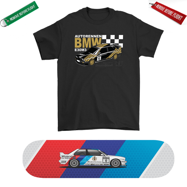 Car Art Warsteiner DTM BMW E30 M3 Skateboard Deck and Premium T-shirt Bundle ++