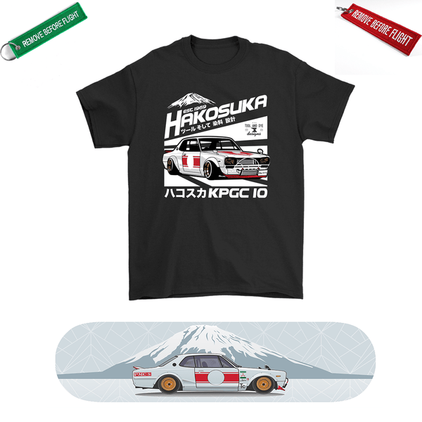 Nissan Hakosuka Skateboard Deck and Premium T-shirt Bundle ++