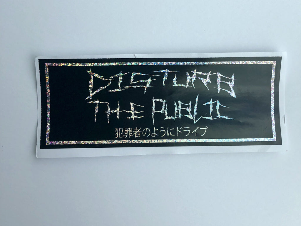 Disturb the Public glitter drift slap vinyl sticker