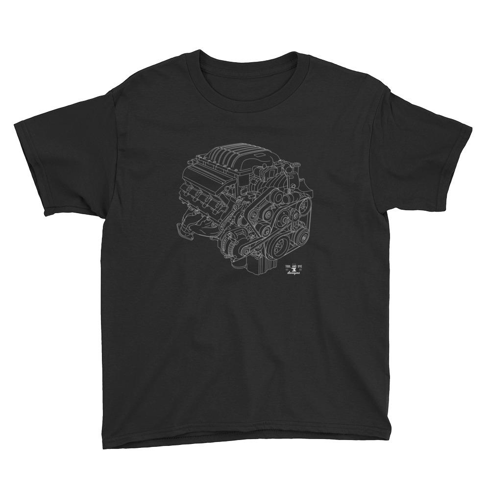 Dodge Hellcat Hemi 6.2L Engine Blueprint Series t-shirt kids