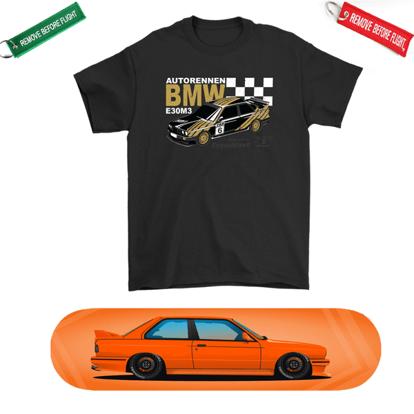 Car Art DTM BMW E30 M3 Skateboard Deck and Premium T-shirt Bundle ++