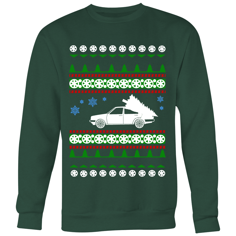 VW Mk2 Jetta Ugly Christmas Sweater Hoodie and long sleeve t-shirt
