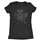 Small Block Chevy SBC Engine Blueprint Illustration T-shirt
