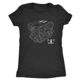 Nissan SR20DET Engine Blueprint Illustration Series T-shirt mens and womens