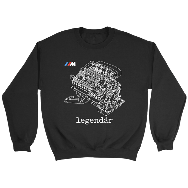 E30 M3 S14 Engine Blueprint Illustration Series Sweatshirt and Hoodie