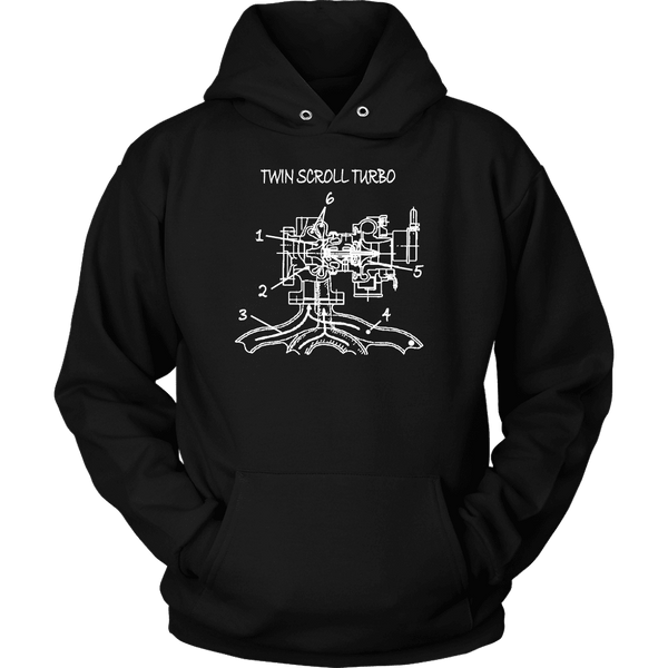 T&D Illustration Series- Twin Scroll Turbo mens (unisex) hoodie sweatshirt front and rear print