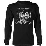 T&D Illustration Series- Twin Scroll Turbo Long Sleeve t-shirt mens (unisex) front and rear print