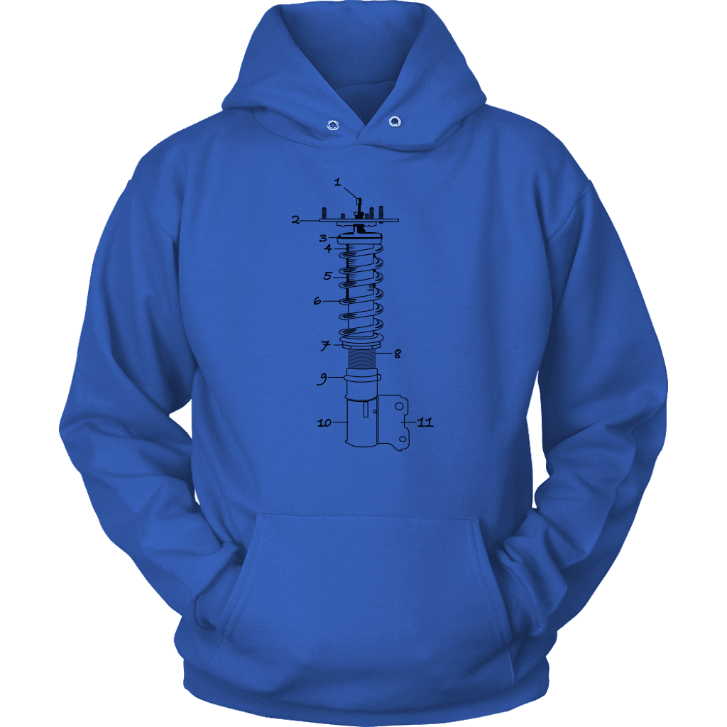 T&D Illustration Series Coilover Mens(unisex) Hooded Sweatshirt multiple colors(front and rear print) Dark Version