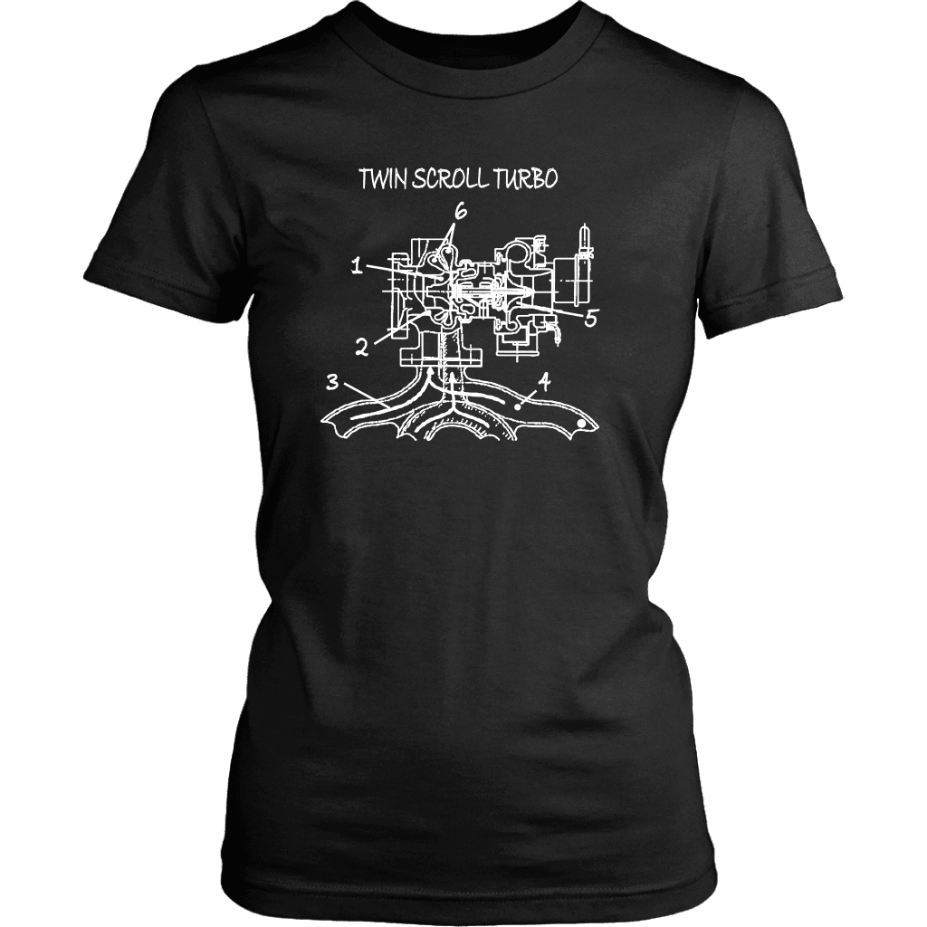 T&D Illustration Series- Twin Scroll Turbo Womens T-shirt front and rear print