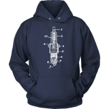 T&D Illustration Series- Sparkplug Hoodie Unisex  (multiple colors) front and back print