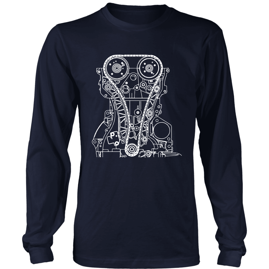T&D Illustration Series 4B11 Evo X engine Mens (unisex) long sleeve T-shirt