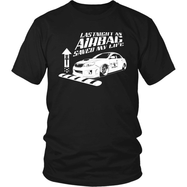 subaru sti wrx air bag saved my life t-shirt stance