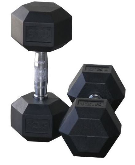 Rubber Hex Dumbbells 9kg Pair