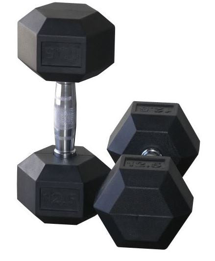 Rubber Hex Dumbbells 12.5kg Pair