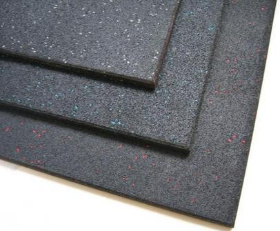 Commercial Gym Rubber Flooring, Black with Blue Fleck 1M*1M*15MM