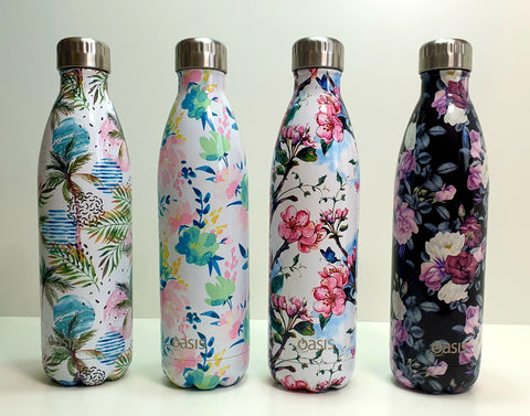 Oasis 750ml Stainless Steel Double Insulated Water Bottle Floral Botanical Range