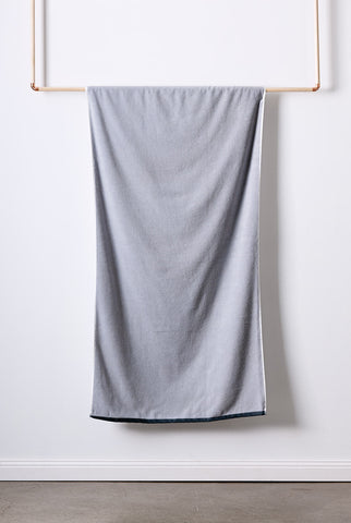 Grey and white Bath Towel made with Turkish Cotton for superior softness.