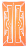 Designer Bath Towel in vibrant orange and white featuring modern Art Deco pattern. Made with 100% Turkish cotton for amazing softness. Side A of Turkish Towel.