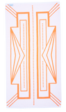 Turkish Bath Towel in vibrant orange and white featuring modern Art Deco pattern. Made with Turkish cotton for absorbency and softness. Side B of Turkish Towel.