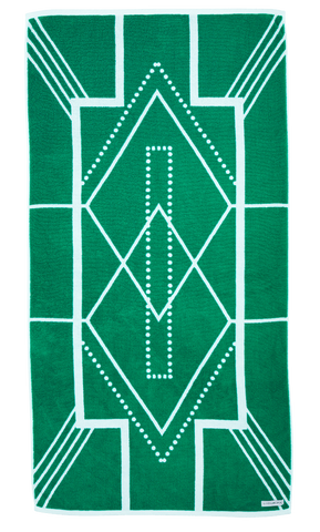 Turkish Bath Towel in emerald green and white featuring modern Art Deco pattern. Made with 100% Turkish cotton for amazing softness. Side A of Bath Towel.