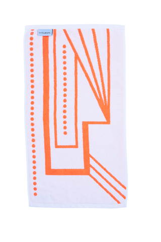 Luxury Hand Towel in vibrant orange and white. The McAlpin Hand Towel is designed with modern Art Deco patterns and made with 100% Turkish cotton. Reverse Side showing.