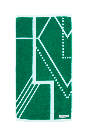 Luxury Hand Towel in emerald green and white. The Webster Hand Towel is designed with modern Art Deco patterns and made with 100% Turkish cotton.