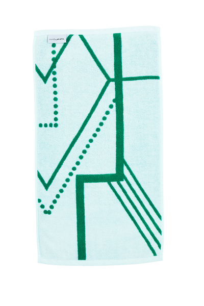 Luxury Hand Towel in emerald green and white. Reverse side. The Webster Hand Towel is designed with modern Art Deco patterns and made with 100% Turkish cotton.