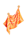 Turkish Bath Towel in vibrant orange and white featuring a modern Art Deco pattern. Made with 100% Turkish cotton for incredible softness.