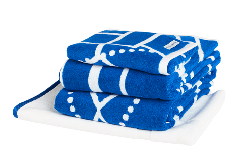 Azure Blue art deco patterned bath towel set. Neatly folded Bath Towels, Hand Towels and Bath Mat made with 100% Turkish cotton.