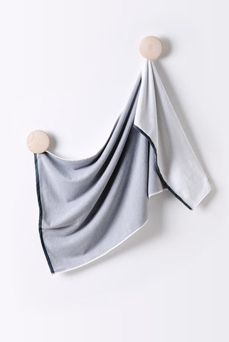 Large Turkish Cotton Bath Towel. Reversible design in white and grey made with Turkish Cotton.