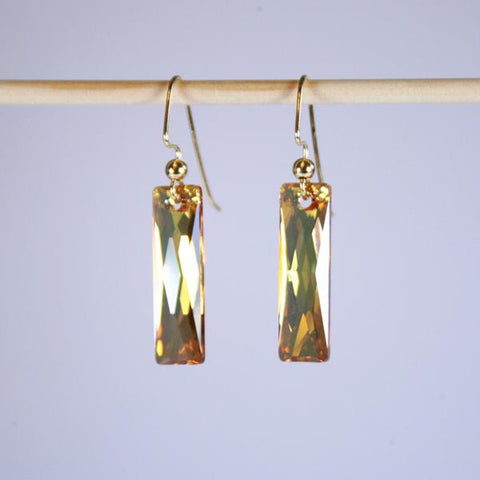 Queen of Gold Swarovski  Crystal Baguette Earrings with Angular Gild Ear Wires