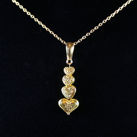 4 hearts promise gold plated pewter pendant with 14k gold plated 4 hearts gold pendant aloadofball Choice Image