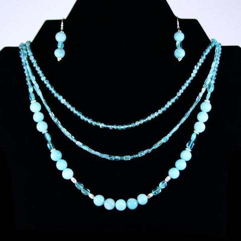 Amazonite, Blue Apatite Beaded Gemstone 3 Strand Necklace Set with 925 Sterling Silver Oval Beads and 925 Sterling Silver Filled Bali Hook Ear Wires with Ball Ends