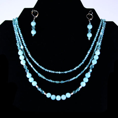 Amazonite Apatite 3 Strand Leverback Set