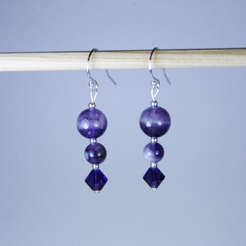 Amethyst Angle Earrings with Sterling Silver