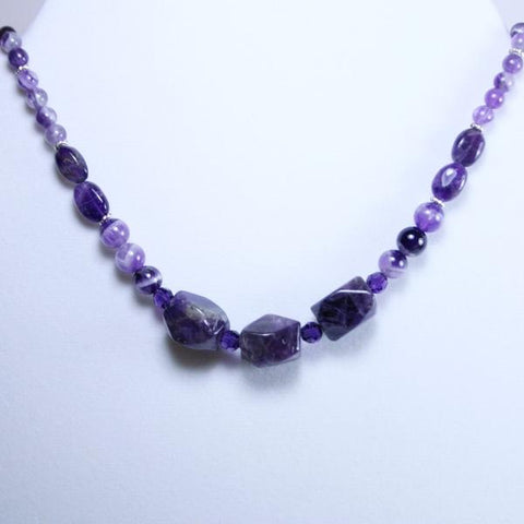 Amethyst Beaded Gemstone Necklace in Amethyst Chevron, Round & Oval Beads with Purple Swarovski Faceted Crystals and 925 Sterling Silver Plated EZ Hook and Eye Clasp- See Matching Earrings and Set