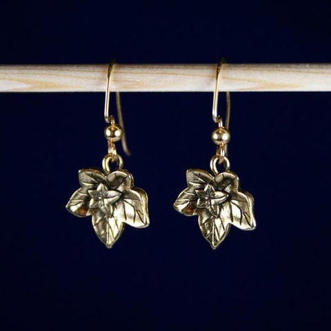 Antique 14K Gold Plated Textured Ivy Leaf Earrings with 14K Gold Filled Angular Hook Ear Wires with 3mm Ball Ends