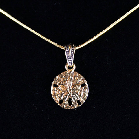 Antique Gold Sand Dollar Pendant