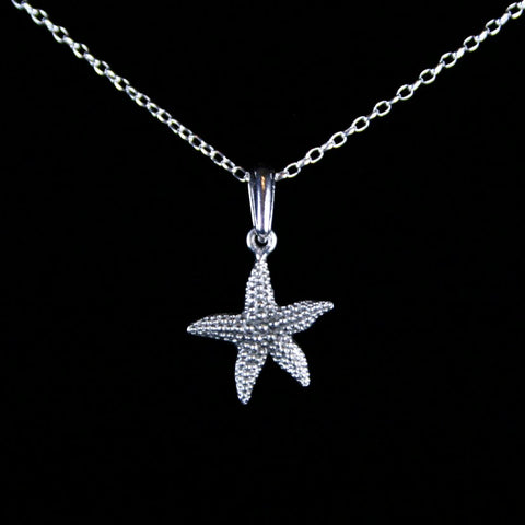 Antique Sterling Silver Plated Pewter Textured Starfish Pendant